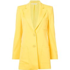 Oscar De La Renta Elongated Peak Lapel Blazer (8.240 RON) ❤ liked on Polyvore featuring outerwear, jackets, blazers, oscar de la renta jacket, yellow jacket, peaked lapel blazer, peak lapel jacket and oscar de la renta