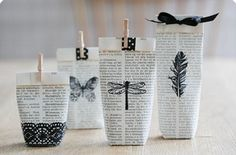 & Creative Gift Wrapping Ideas You Will Adore! Use pages from an old book, stamp and fold them into small gift bags.Use pages from an old book, stamp and fold them into small gift bags. Creative Gift Wrapping, Wrapping Ideas, Creative Gifts, Unique Gifts, Old Book Crafts, Newspaper Crafts, Newspaper Painting, Newspaper Wall, Pretty Packaging