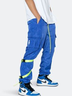Konus Blank State Men's Swishy Utility Cargo Pants in Royal Blue Cargo Pants, Royal Blue, Cord, Tape, Teen Boy Fashion, Neon, Pockets, Detail, Parachute Pants