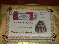 Taylor Swift Concert Ticket - This cake was made for twin girls turning 10 that love Taylor Swift. They did not know they were going to the concert. The mother wanted to do a scavenger hunt for the tickets, ending with the cake to let them know they were going. I scanned one of the tickets and put it on an edible image. I tried pulling off Di's Cakes (Diane) ribbon thing on the corners but it didn't turn out near as nice as hers do. Thanks for looking!