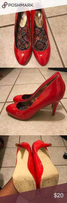 Madden Girl Heels Red Heels. Only worn once. Extremely comfortable! Madden Girl Shoes Heels