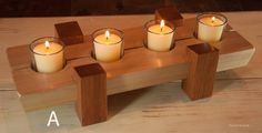 Table Centerpiece 4 Votive Candle Holder by ReynoldsWoodcraft