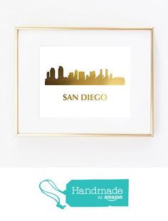 San Diego Skyline City CA California Gold Foil Art Wall Print US States World Map distance like Fashion Color and White Gold poster 0263 from Artlantida https://www.amazon.com/dp/B0174U25BA/ref=hnd_sw_r_pi_dp_xyD2ybNAFSDM6 #handmadeatamazon