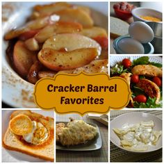 Enjoy 17 classic Cracker Barrel menu favorites here gathered in one place. Check out these copy cat recipes today. Cracker Barrel Menu, Cracker Barrel Copycat Recipes, Cracker Barrel Fried Apples, Apple Recipes, Great Recipes, Dinner Recipes, Favorite Recipes, Yummy Recipes, Special Recipes