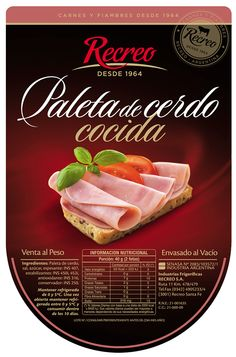 Recreo Hams packaging line on Behance Food Graphic Design, Food Poster Design, Carnes Premium, Meat Packing, Poster Background Design, Pork Ham, Food Tags, Chocolate Sweets, Food Packaging Design