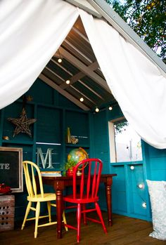 Creating an Escape at Home: A Backyard Bungalow — The Handmade Home Casa Wendy, Wendy House, Cubby Houses, Play Houses, Tree House Interior, Tree House Decor, Interior Walls, Interior Lighting, Playhouse Interior