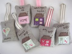 Ticketty Boo. Ticketty Boo linen applique keyrings...I think they'd make nice pincushions
