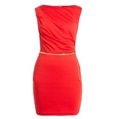 Red Sleeveless Gold Belt Dress ($37) ❤ liked on Polyvore