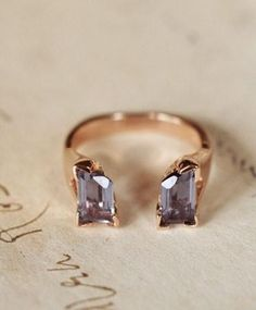 2014 rose gold ring,  Square diamond engagement ring.