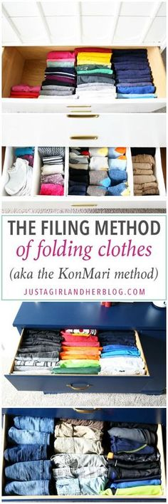 Home Organization - The KonMari Method of folding clothes helps us keep our dresser drawers neat, tidy, and uncluttered! laundry tips Kids Clothes Organization, Dresser Organization, Craft Organization, Organizing Ideas, Organizing Drawers, Clothes Storage, Ikea Drawers, Organizing Life, Ikea Skubb