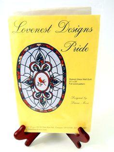 Lovenest Designs Pride Stained Glass Wall Quilt Full Size Pattern Cardinal Bird #LovenestDesigns