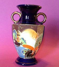 Satsuma Vase Hand Painted Wrap Around Scene On Cobalt Blue With Gilding Satsuma Vase, China Porcelain, Cobalt Blue, Bone China, Art Decor, Perfume Bottles, Scene, Hand Painted, Antiques