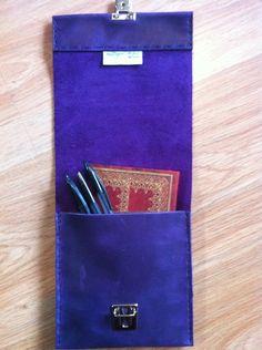 Purple slimline handsewn leather pencil case £16.49