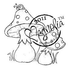 Magnolia Sweet Rainbow Cling Stamp Mushrooms With Snail