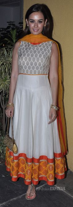 Evelyn Sharma in a cream and orange Anarkali at a 2013 Diwali Party (IE Photo: Varinder Chawla)