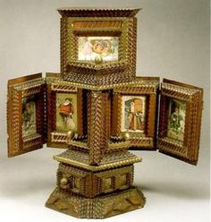 Tramp Art; Postcard Display Cabinet, Gilded Finials, 26 inch .Origin: 	America Year: 	1801 - 1830