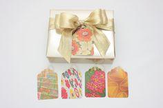 Vintage Magazine Gift Tags - Set of 5 - Retro Patterned Birthday Tags - Handmade - No. 673. $2.50, via Etsy.