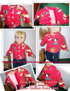 American Girl / 18 inch doll unisex style Long Sleeve shirt with faux button down front and tropical Penguins playing in the water, riding surfboards or skateboard scenes with red background.  This fun all cotton shirt with a full collar has a hook and loop closure down the front with white plastic buttons, hand stitched in place with black thread. The red background fabric with whimsical yellow & white palm trees, penguins on surf boards or floating mattresses, roller-skates or skateboa...
