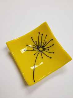 Yellow dandelion fused glass mini dish by sherrylee16 on Etsy