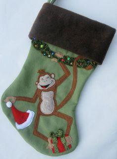 Cheeky Monkey Personalized Christmas Stocking. $80.00, via Etsy.