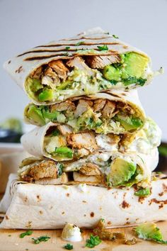 Chicken Avocado Burritos! Yum! If you like this recipe and want me to share more like this please like & share this post! :) Ingredients 4 burrito sized tortillas (corn tortillas for gluten-free) warmed 1 pound cooked chicken sliced or shredded 1 large avocado diced 1 cup Monterey Jack cheese shredded 1/4 cup salsa verde 1/4 cup sour cream or greek yogurt 2 tablespoons cilantro chopped Directions Assemble the burritos optionally toast and enjoy!