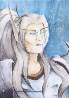 I want to introduce you a Blood Elf DK, who is a birthday gift for my friend. An idea of mixing pen and watercolours together came into my mind, when DK. Blood Elf, Pen And Watercolor, How To Introduce Yourself, My Friend, Birthday Gifts, My Arts, Draw, Deviantart, Handmade