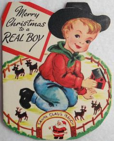#154 40s Gibson Cowboy w/ Ranch Playset-Vintage Diecut Christmas Greeting Card