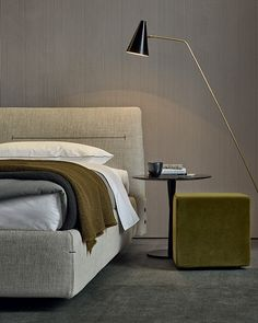 An upholstered bed designed by Jean-Marie Massaud for Poliform, Jacqueline is characterized by a soft cover with visible stitching. Contemporary Bedroom, Modern Bedroom, Home Bedroom, Bedroom Decor, Bedrooms, Bedroom Colors, Bedroom Furniture, Furniture Design, Master Suite