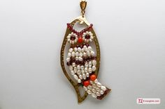 Leaf with Owl Pendant [Pearls, Coral, Garnet] in Gold Plated Silver - Pendente Foglia Gufo grande [Perle, Corallo, Granato] in Argento placcato Oro #jewelery #luxury #trend #fashion #style #italianstyle #lifestyle #gold #store #collection #shop #shopping  #showroom #mode #chic #love #loveit #lovely #style #all_shots #beautiful #pretty #madeinitaly