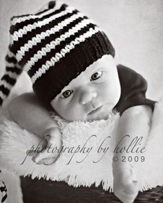 Items similar to Newborn Knit Baby Hat BaBY PHoTO PRoP Black White Stripe  Long Tail Stocking Hat UNiSeX MuNCHKiN BeANiE Boy Girl Coming Home Gift  PiCK CoLOR ... 03aeba7fc834