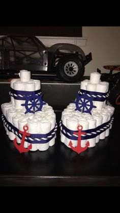 Boat Diaper cake for Nautical Baby Shower More