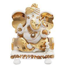 24 ct. Gold Plated Resin Pagdi Ganesh God Idol