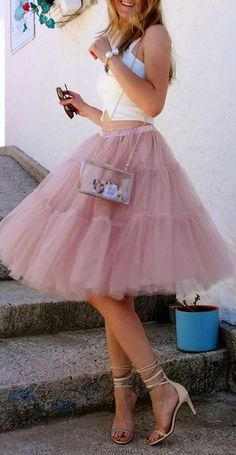 Dusty pink tulle