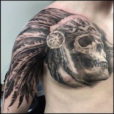 Native American Skull Headdress Tattoo | Venice Tattoo Art Designs, This is an freehand drawn tattoo on my son Done by NeedleWerks in Saratoga Springs NY.