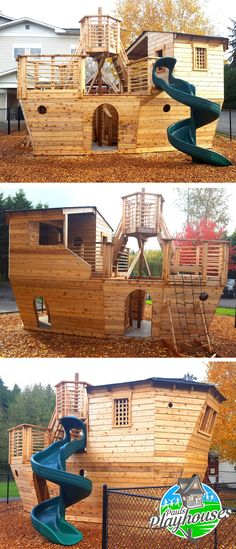 Davy Jones' Locker Pirateship Plan This pirate ship was built for a church in Washington state. Playground Design, Backyard Playground, Backyard For Kids, Wood Playground, Children Playground, Backyard Ideas, Kids Pirate Ship, Pirate Ships, Outdoor Play Structures