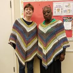 Twinsies in our matching ponchos. Pattern on my blog linked in profile. #crochet #crochetlove #crochetersofinstagram #yarnspirations #caroncakes