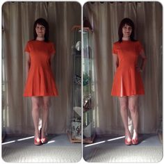 "VINTAGE ORANGE POLKA DOT DRESS Vintage dress in orange with white polka dots! The mock turtleneck is in the same shade as the pleats. Back zipper, short sleeves with a fit & flare design with a retro go go kind of vibe or cheerleading!  I styled it with what else but orange heels because the dress is the statement piece!  This is a fantastic vintage find if you like orange & standing out! Its a feel good kind of dress & not for the timid! Measures 30"" at waist , 34-36"" bust with free hips…"