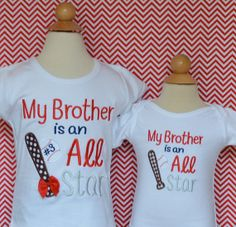 Personalized My Brother is an All Star Baseball by PixieStitchLLC, $25.00