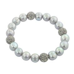 """Honora 7.25""""-7.5"""" Sterling Silver Gray Round Ringed Freshwater Cultured Pearl and Pave Crystal Bead Stretch Bracelet #pearls #jewelry #bracelet"""