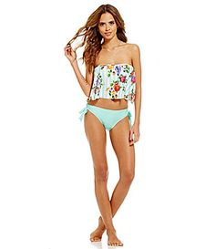 c2853090290b1 Gianni Bini Floral Stripe Flutter Bandeau Top and Front Tie Bottom  #Dillards Cute Swimsuits,