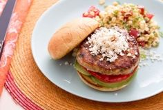 Mexican-style turkey burger with warm corn-tomato salad [Recipe]