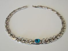 1950s1960s Retro Necklace Wide Snake Chain Rhinestones by joysshop, $11.95