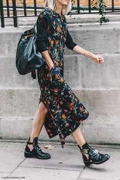 cool Street Style : Slip dress, backpack, Balenciaga boots....