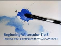 Beginning Watercolor Tip 2: Controlling the water bead and painting with gravity - YouTube #watercolorarts