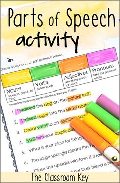Teach parts of speech the engaging and fun way with these color coding activities! Students highlight or underline parts of speech in sentences. Worksheets and no-prep and perfect for grammar morning 4th Grade Activities, Grammar Activities, English Activities, Listening Activities, Vocabulary Games, Grade 2 Patterning Activities, Montessori Activities, Parts Of Speech Practice, Parts Of Speech Worksheets