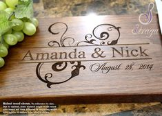 Surprise your other half with this personalized cutting board! Use to share yours. Engraved Cutting Board, Diy Cutting Board, Personalized Cutting Board, Wood Cutting, Personalized Wedding, Laser Cutting, Wedding Anniversary Gifts, Anniversary Surprise, Wedding Gifts