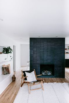 A Glazed Thin Brick fireplace in Black Hills became the focal point for this timelessly modern home designed by more of… Scandinavian Fireplace, House Design, Home, Modern House, Fireplace Design, Modern Fireplace, Interior Design, Black Brick Fireplace, Brick Interior