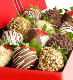 12 pc. Gourmet Chocolate Covered Strawberries from Fannie May - look at those toppings.