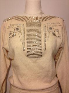 Vintage Designer Beaded Sweater Anne Klein by DIYstylist on Etsy, $15.99    https://www.etsy.com/listing/122573475/vintage-designer-beaded-sweater-anne