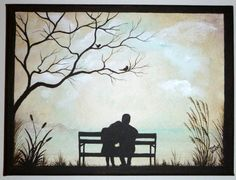 Reminds me of my husband and I reading on the park bench by the lake. Couple on Park Bench, Original Painting, Small x Great Gift for Home or Office. by ArtbySimplyMe on Etsy Couple Painting, Diy Painting, Painting & Drawing, Couple Drawings, Art Drawings Sketches, Watercolor Paintings, Original Paintings, Silhouette Painting, Bible Art